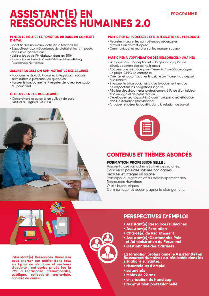 Formation ASSISTANT(E) EN RESSOURCESHUMAINES 2.0